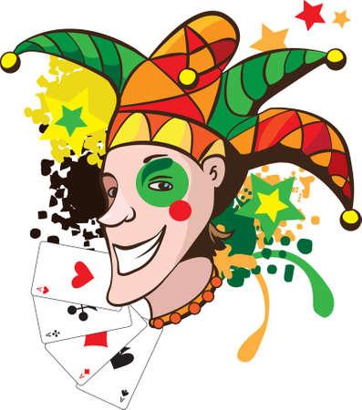 Joker sonriente con tarjetas y estrellas ilustración vectorial