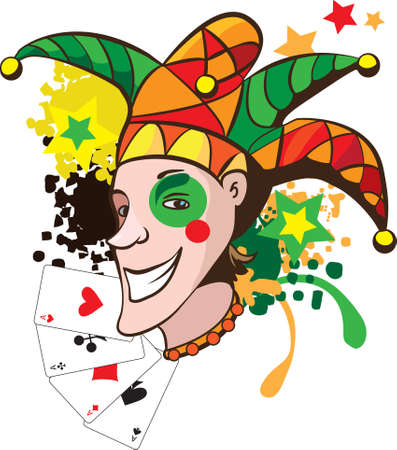 buffoon: Smiling joker with cards and stars vector illustration Illustration