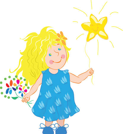 simple girl: Little girl holding a star cartoon illustration