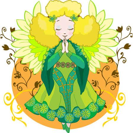 Cute cartoon angel with a singing bird Stock Vector - 9122445