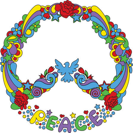 Peace symbol  with flowers and stars pop-art style Vector