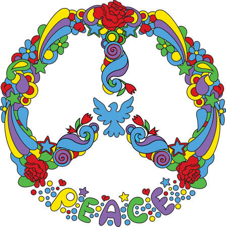 Peace symbol  with flowers and stars pop-art style Illustration