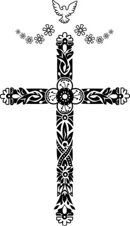 Cross with decorative tips and an ornament with flowers and leaves Vector