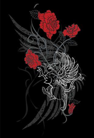 drago alato: Design di fantasia con Grifone e Rose su sfondo nero Vettoriali