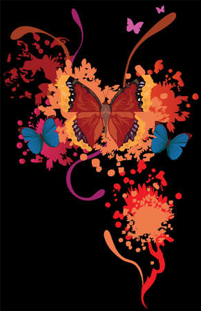 Bright butterfly collection with splashes for your design Stock Vector - 9255202