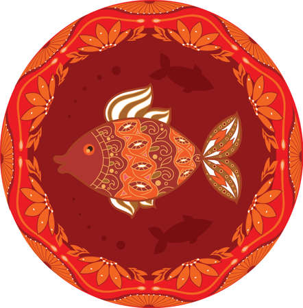 russian cuisine: ornamental fish on ethnic floral circle background for your design Illustration