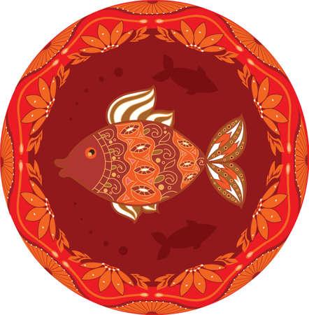 ornamental fish: pesci ornamentali sullo sfondo etnico floreale cerchio per il vostro disegno Vettoriali