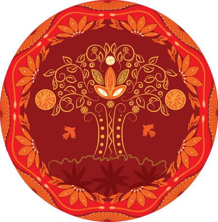 Abstarct arbre de vie avec des fleurs, des fruits et des oiseaux Banque d'images - 9278998