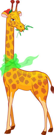 Cartoon illustration giraffe with scarf isolated on white background