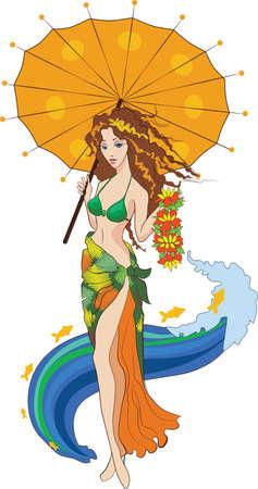Chica en traje de baño sostiene un flores y paraguas