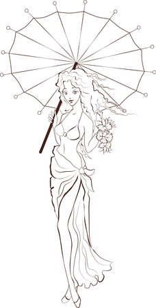 Silhouette of a girl who holds a flowers and umbrella Vector