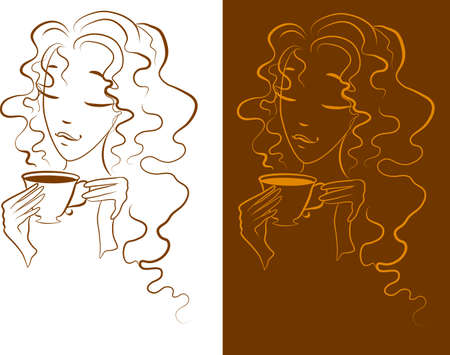 Silhouette of a Young female drinking hot coffee Vector