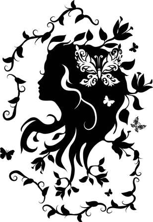 Doodle grafic drowing of beautifull woman with flowers in her hair Vector