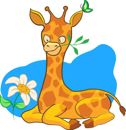 Cartoon illustration giraffe with scarf isolated on white background Vector