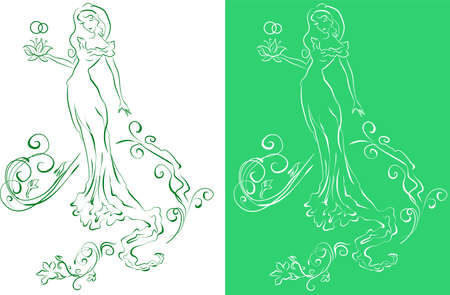 Ornate Silhouette of the bride with flowers (lilies). Illustration Vector