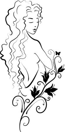 Doodle grafic drowing of spa woman with a lily Illustration