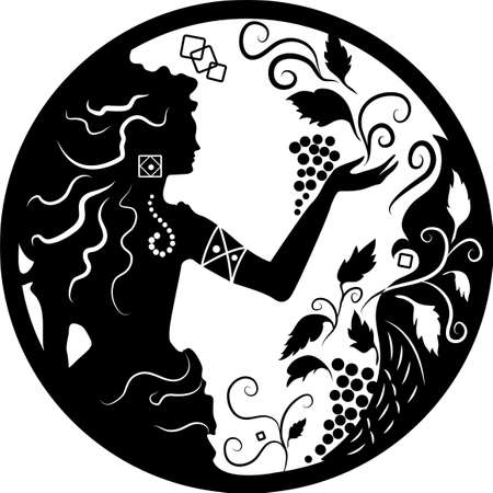 Doodle silhouette of woman and grapes on white background