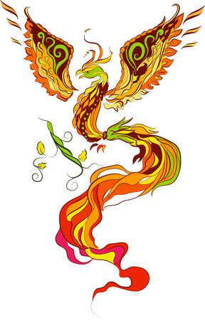 pajaro dibujo: Illustartion de vector de Phoenix en el estilo de la tradici�n rusa Vectores