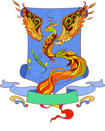 Phoenix vector geraldic  illustartion in russian tradition style Stock Vector - 9552197