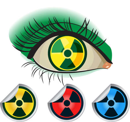 Radioactive ikons. Human eye and red, yellow and blue Stock Vector - 9552199