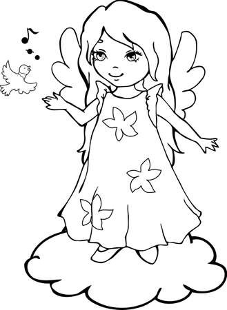 Cute cartoon angel with a singing bird for coloring