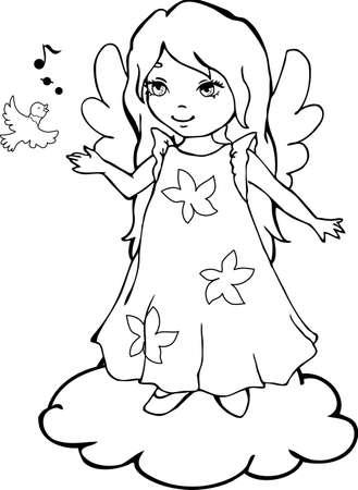 Cute Cartoon Engel mit einem Singing-Bird zum Ausmalen Standard-Bild - 9595917