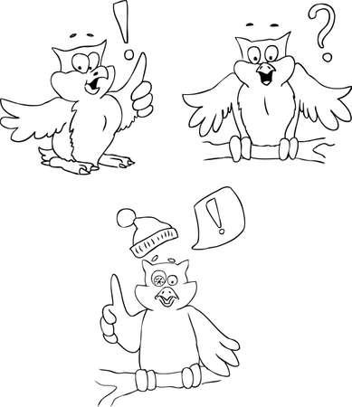 black beak: Doodle sketch of owls isolated on white background