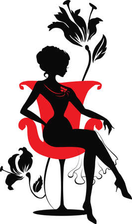 Doodle grafic silhouette of a woman on a armchair