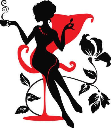 silueta: Silueta de una mujer joven con caf� caliente o t�