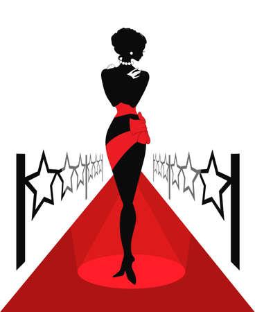 celebrities: Silhouet van de vrouw op een rood tapijt met lightes