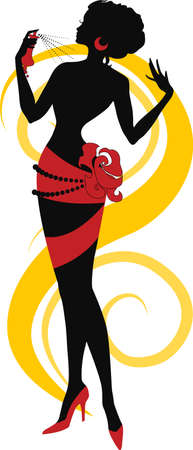 Doodle graphic silhouette of a woman with parfume