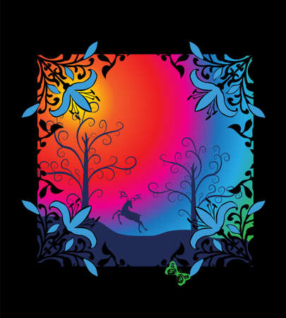 Fairy tale rainbow background with fantasy landscape Vector