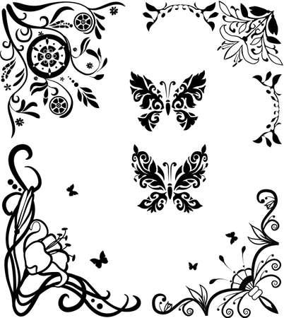 Corner doodle graseful set with butterflies for design Stock Vector - 9639218