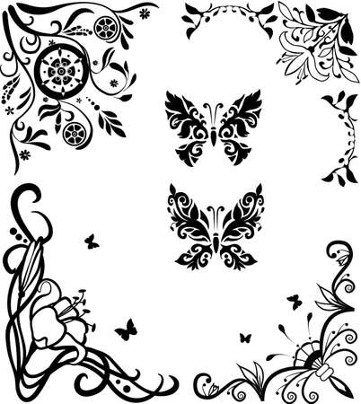 Corner doodle graseful set with butterflies for design Vector