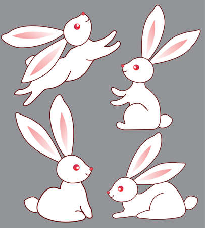 Four white  cute bunnies for your design Illustration