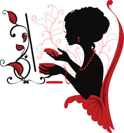 Doodle graphic silhouette of a woman look after herself. Isabelle series