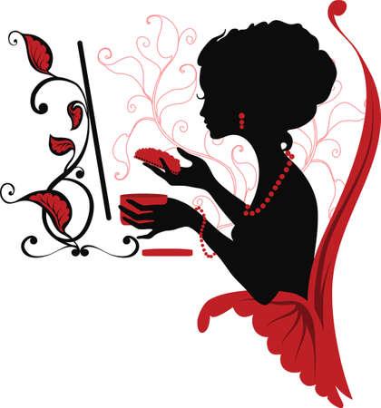 Doodle silhouette graphique d'une femme s'occuper d'elle-même. Isabelle séries Banque d'images - 9692284