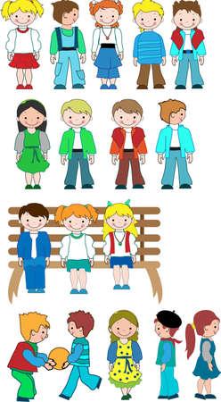 vie �tudiante: Cartoon kids diff�rents pour votre design Illustration
