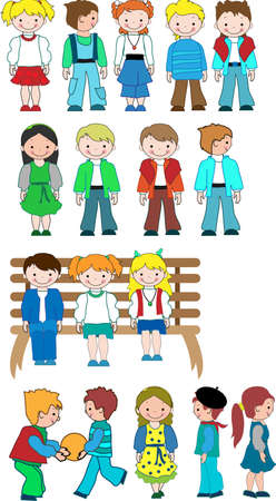 clothes cartoon: Different kids cartoon set for your design Illustration