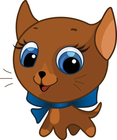 Vector illustration of a brown cute kitten with a bow on his neck