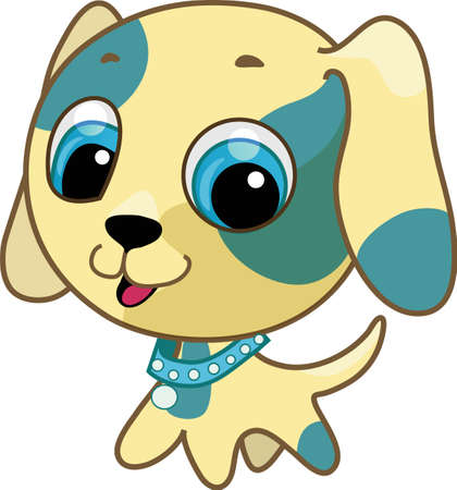 Vector illustration of a yellow cute puppy with a collar on his neck
