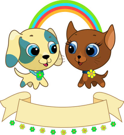 Cute puppy and kitten friendship vector illustration Vector