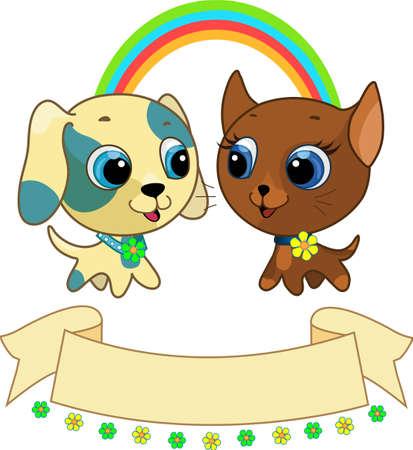 Cute puppy and kitten friendship vector illustration Stock Vector - 9692289