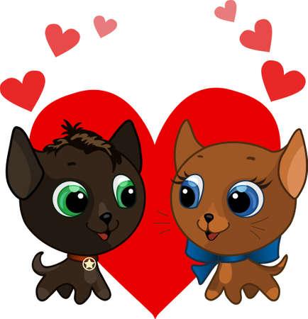Cute kitten and kitten love vector illustration Stock Vector - 9692288