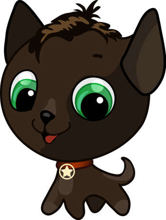 Vector illustration of a brown cute kitten with a medal on his neck Stock Vector - 9692287