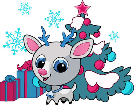 Christmas deer vector illustration with tree and snowflake Vector