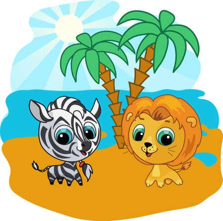 Vector Cartoon Illustration eines niedlichen Löwe und zebra Standard-Bild - 9717686