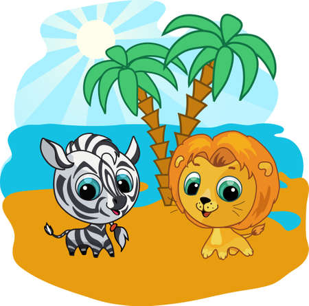 Vector cartoon illustration of a cute lion and zebra Vector