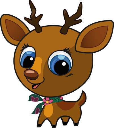 Vector illustration of a brown cute fashion deer with a scarf on his neck Stock Vector - 9804944