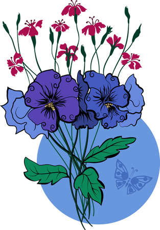 Viola and  bouquet vector illustration for your design Stock Vector - 9804950